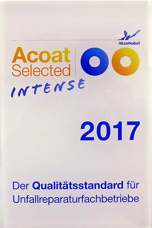 Zertifizierungsurkunde »Acoat Selected Intense«