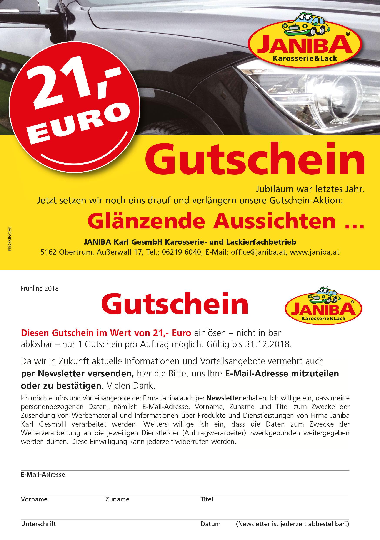 € 21,- Gutschein Janiba Karosserie- und Lackierfachbetrieb