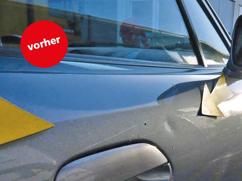 Delle weg ab € 39,-. Wir sind ein zertifizierter Fachbetrieb und beheben Dellen bis etwa 3 cm Durchmesser durch »Drücken«, ohne Neulackierung!